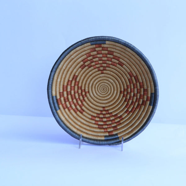 Tanfa African Wall Basket, Rwanda baskets, African Woven basket,  Brown, light brown and gray