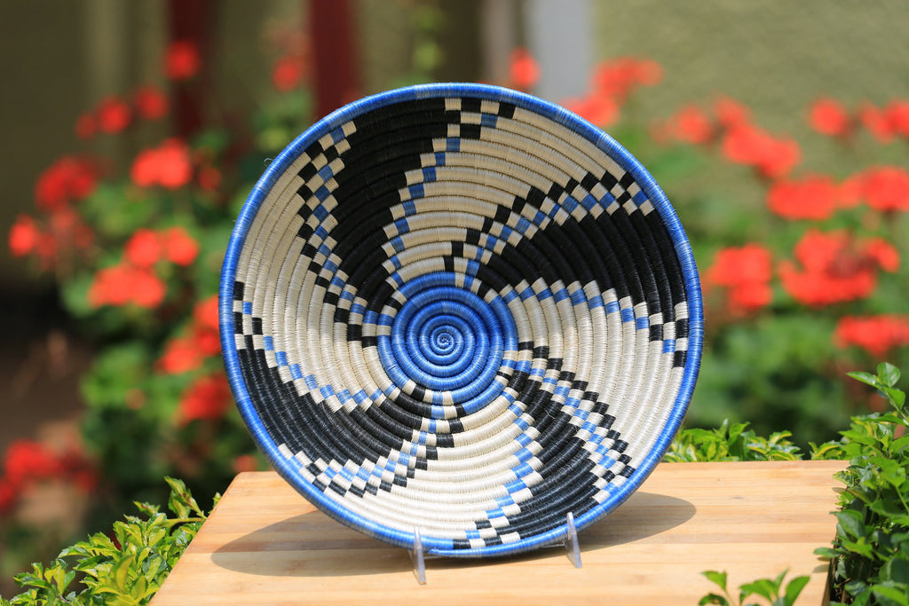 Liki African Wall Basket, Rwanda baskets, African Woven basket, blue, white and black - African Baskets , African Basket , Rwanda Baskets , Wall baskets Woven Basket