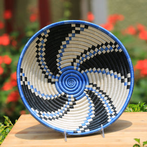 Liki African Wall Basket, Rwanda baskets, African Woven basket, blue, white and black