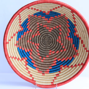 Ntungamo African Wall Basket, Rwanda baskets, African Woven basket, Tan, red, blue and brown
