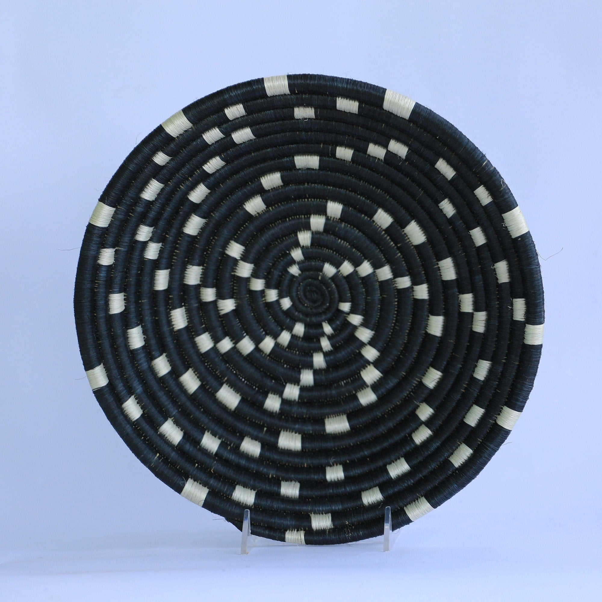 Khiry African Wall Basket, Rwanda baskets, African Woven basket. Black and White - African Baskets , African Basket , Rwanda Baskets , Wall baskets Woven Basket