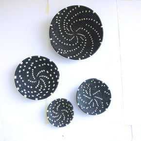 Khiry African Wall Basket, Rwanda baskets, African Woven basket. Black and White