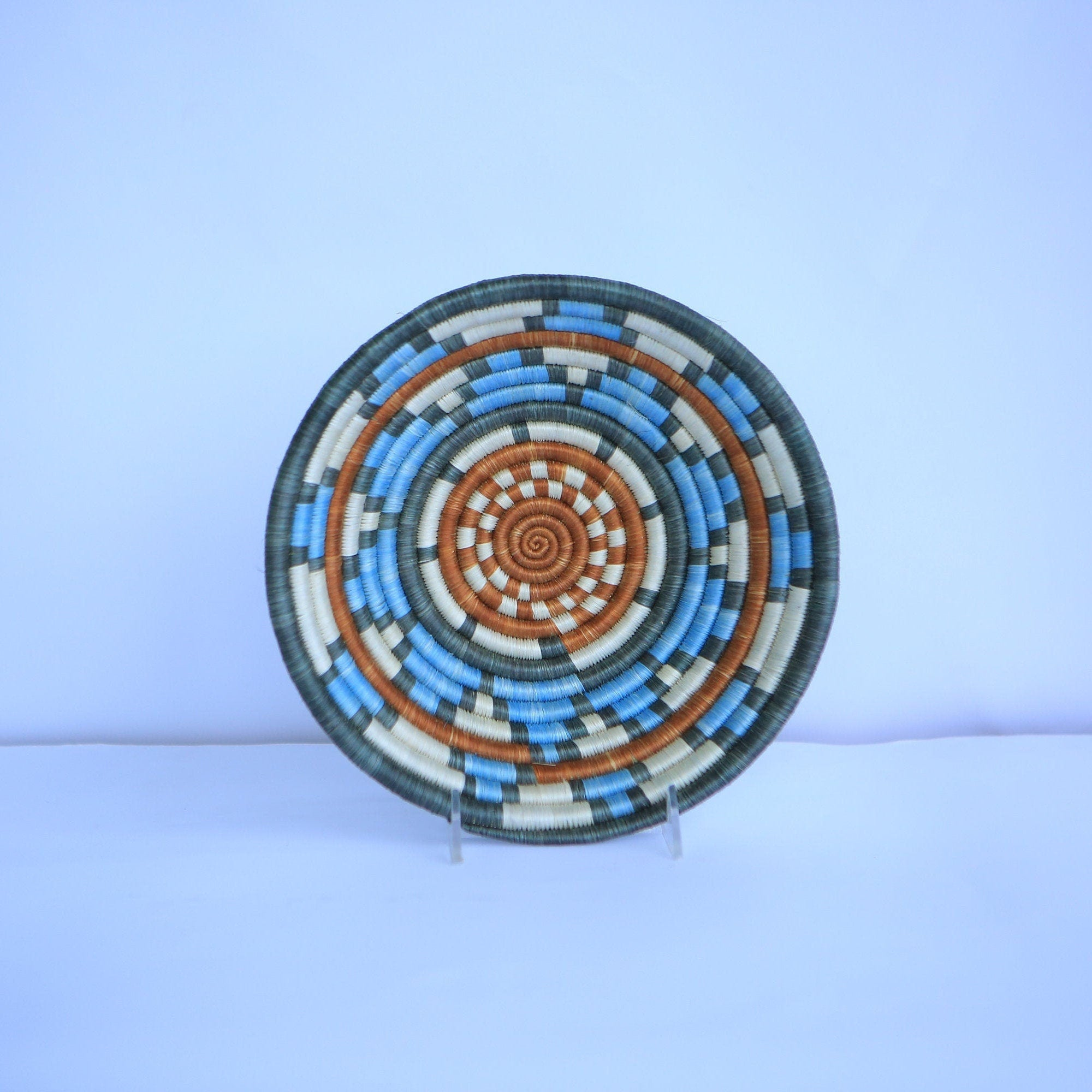 Shene African Wall Basket, Rwanda baskets, African Woven basket,  Sky blue, blue and brown - African Baskets , African Basket , Rwanda Baskets , Wall baskets Woven Basket