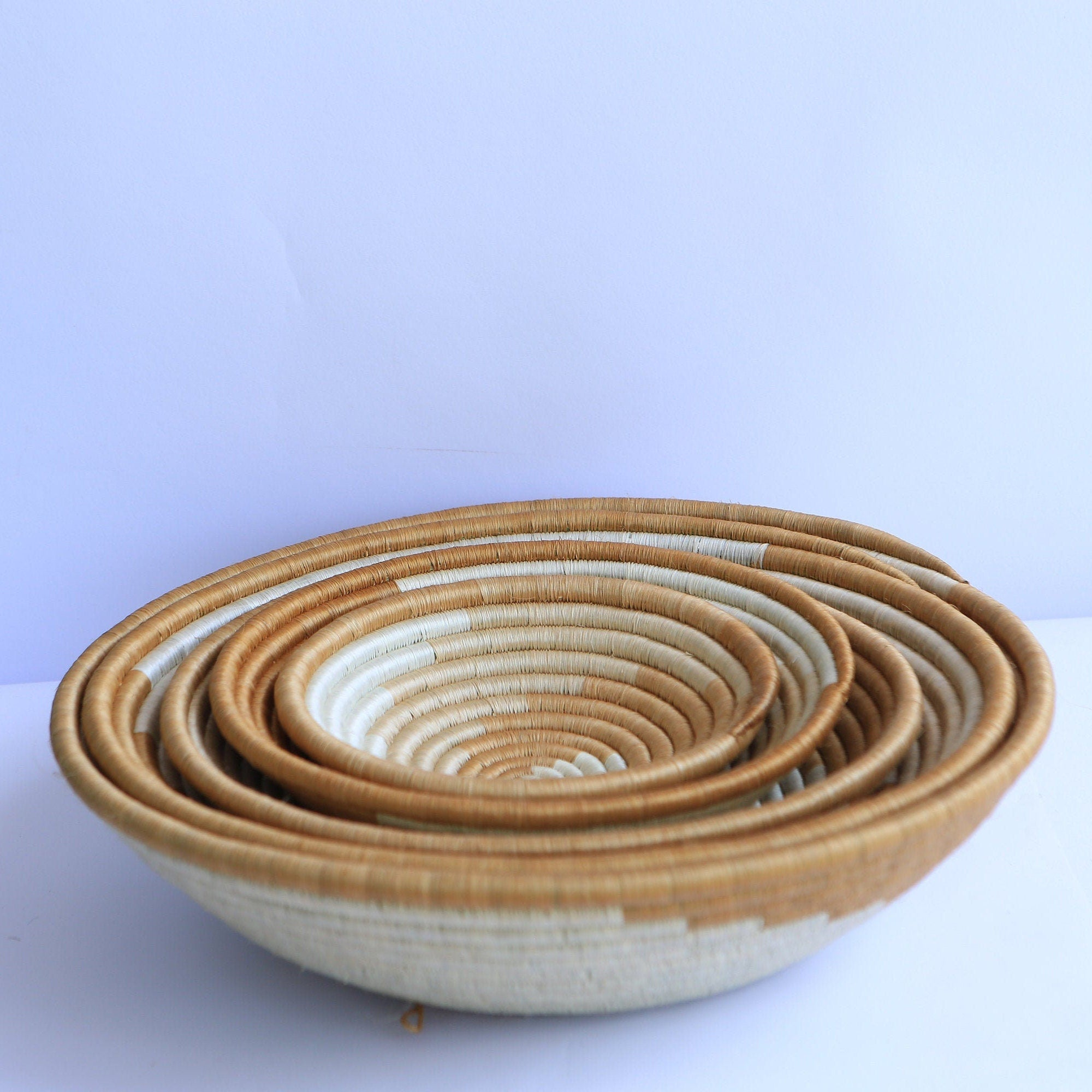 Umuraba African Wall Basket, Rwanda baskets, African Woven basket. White and Brown - African Baskets , African Basket , Rwanda Baskets , Wall baskets Woven Basket