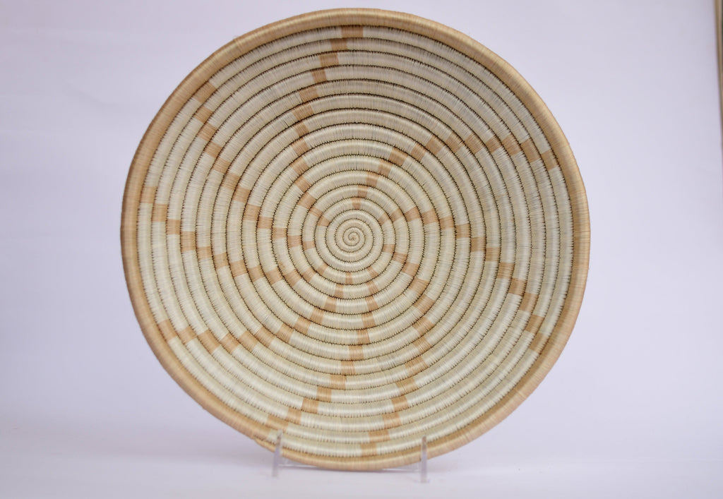 Agahozo African Wall Basket, Rwanda baskets, African Woven basket. White and Brown - African Baskets , African Basket , Rwanda Baskets , Wall baskets Woven Basket