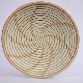 Agahozo African Wall Basket, Rwanda baskets, African Woven basket. White and Brown