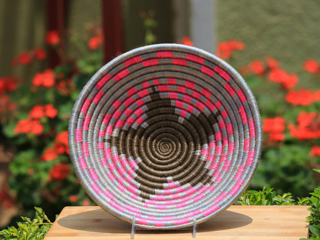 Nera African Wall Basket, Rwanda baskets, African Woven basket. Pink, Gray and dark brown - African Baskets , African Basket , Rwanda Baskets , Wall baskets Woven Basket