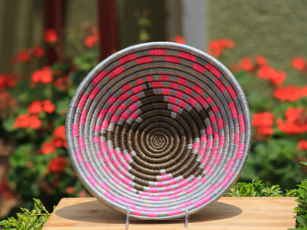 Nera African Wall Basket, Rwanda baskets, African Woven basket. Pink, Gray and dark brown