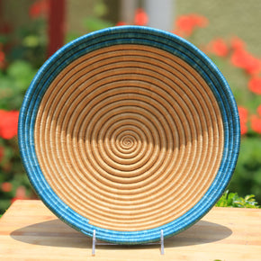 Nzuki African Wall Basket, Rwanda baskets, African Woven basket. Brown and Teal blue