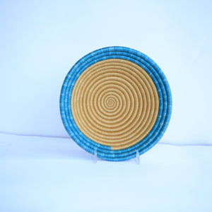 Nzuki African Wall Basket, Rwanda baskets, African Woven basket. Brown and Teal blue - African Baskets , African Basket , Rwanda Baskets , Wall baskets Woven Basket