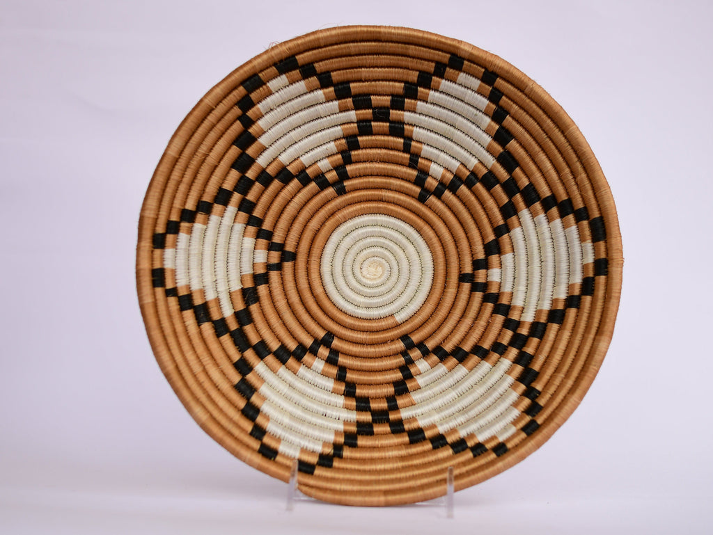 Nyota African Wall Basket, Rwanda baskets, African Woven basket,  Brown, Black and White - African Baskets , African Basket , Rwanda Baskets , Wall baskets Woven Basket