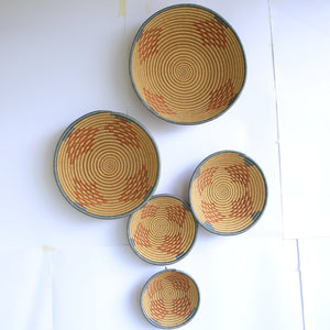 Tanfa African Wall Basket, Rwanda baskets, African Woven basket,  Brown, light brown and gray - African Baskets , African Basket , Rwanda Baskets , Wall baskets Woven Basket