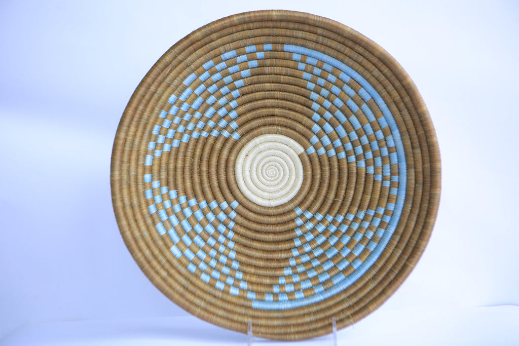Tase African Wall Basket, Rwanda baskets, African Woven basket, brown and and teal - African Baskets , African Basket , Rwanda Baskets , Wall baskets Woven Basket