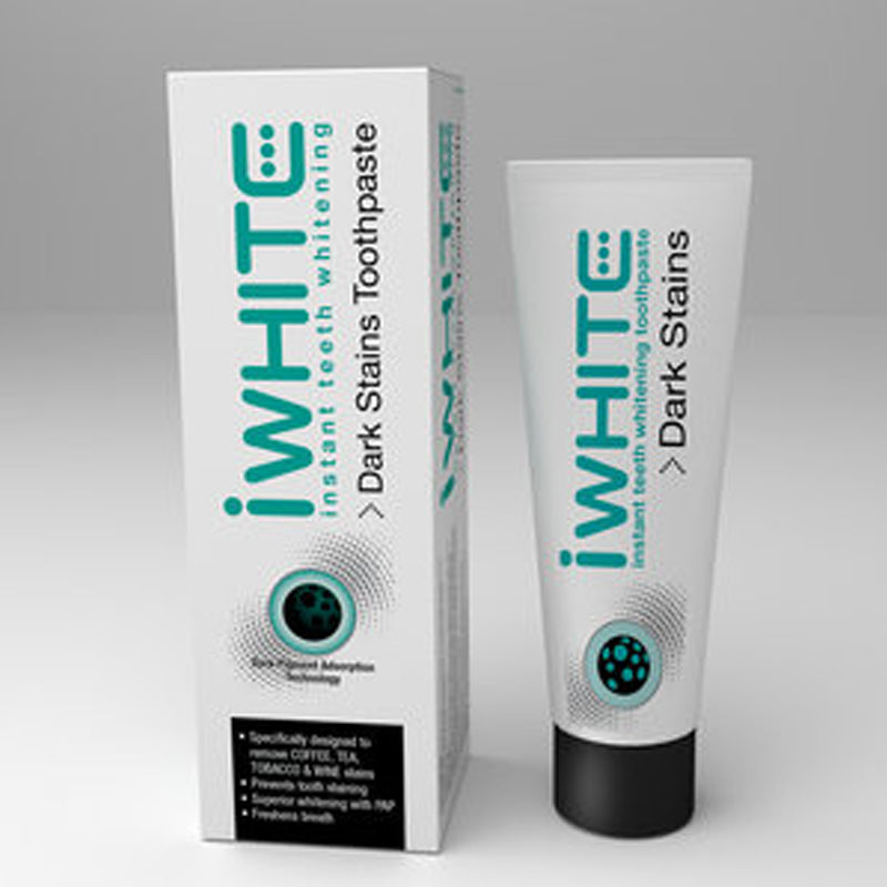 iwhite, dark stains toothpaste, teeth whitening, dark stains, red wine, tobacco, tea, coffee, smoking, instant, remove stains, no sensitivity, no hydrogen peroxide