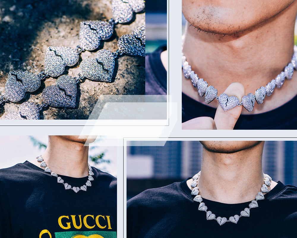 Aporro-Hip Hop White Gold Iced Out Chain