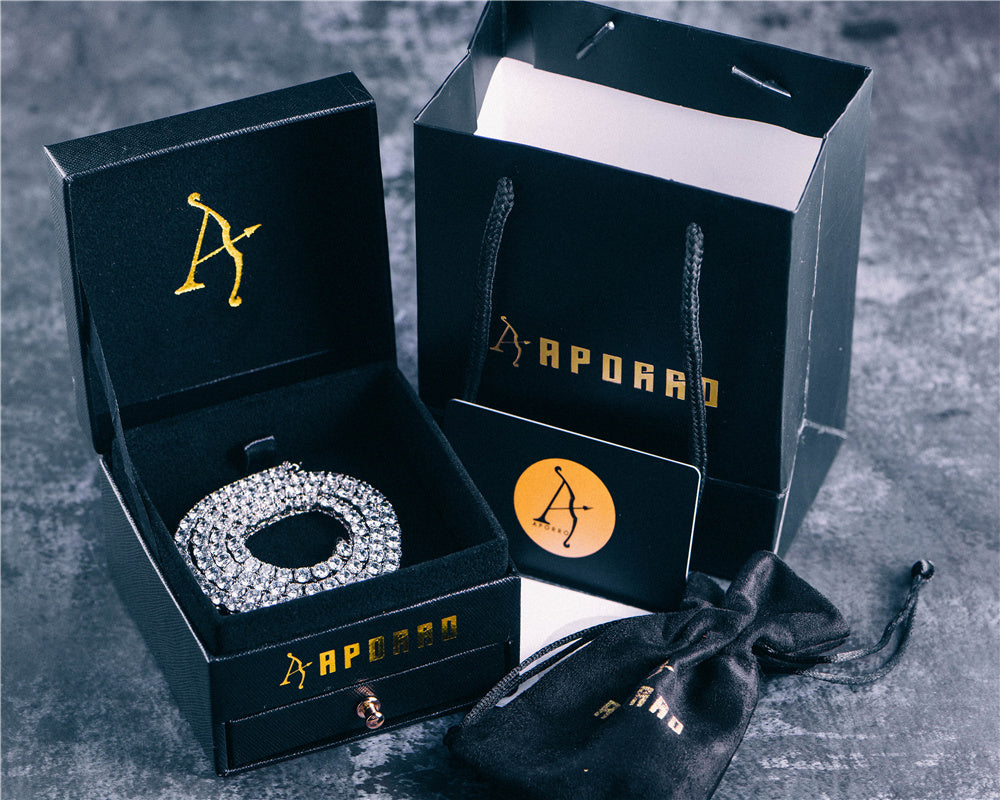 Aporro-fashion white gold tennis chain