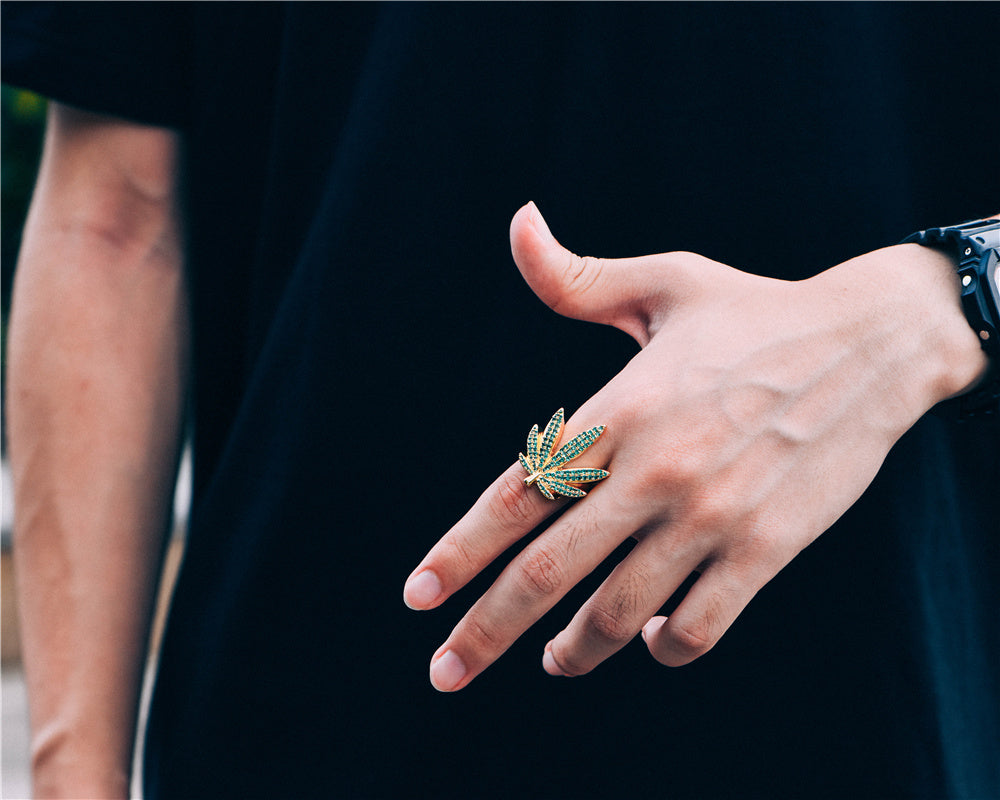 Aporro-14K Gold Iced Cannabis Leaf Ring