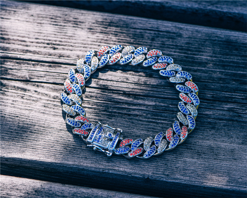 Multi-Colored Cuban Link Bracelet Aporro