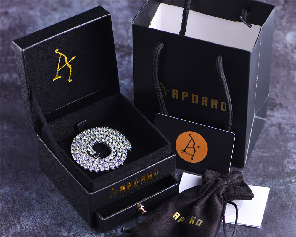 Aporro-cool white gold tennis chain