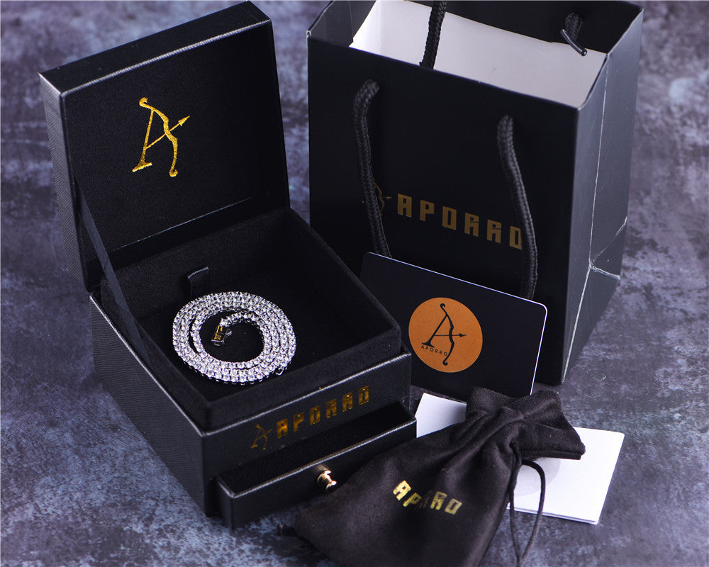 Aporro-shiny white gold tennis chain