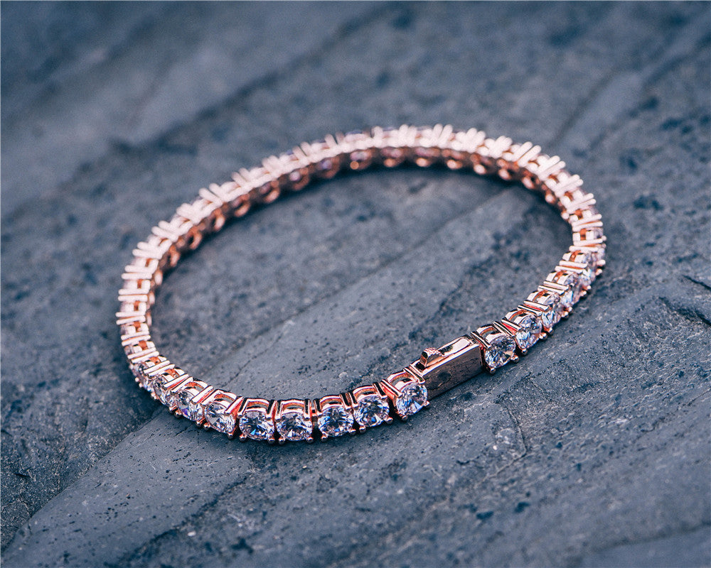 Aporro-rose gold iced out tennis bracelets