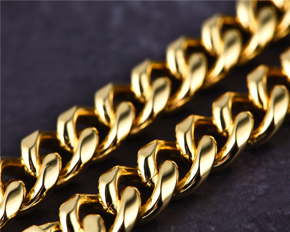 12mm 14K Gold Miami Cuban Curb Chain Aporro