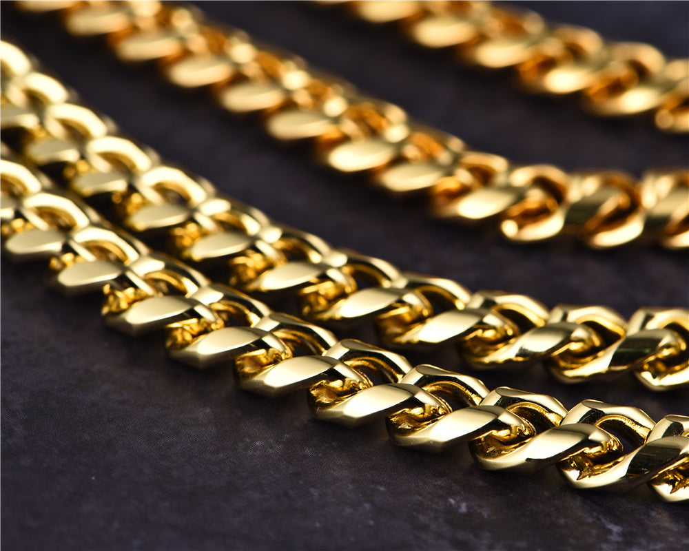 14K Gold Miami Cuban Curb Chain Aporro