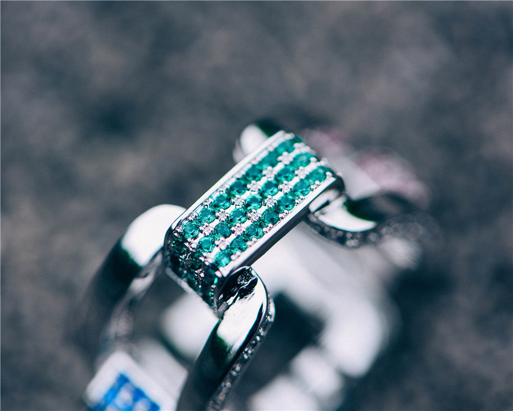 Aporro-White Gold Iced Out Hermes Link Ring