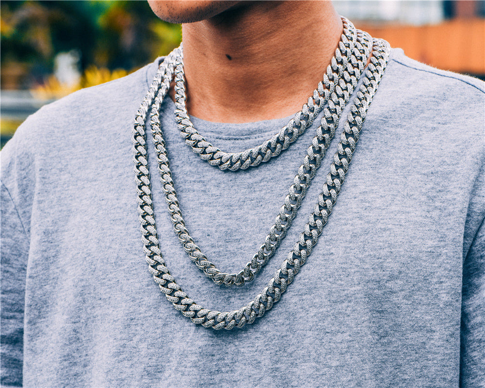bling white gold iced out cuban chain Aporro
