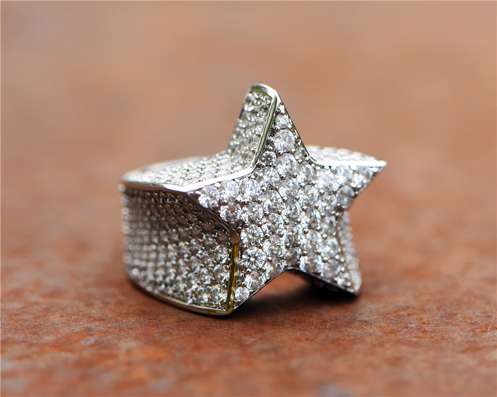 Aporro-White Gold Iced Out Star Ring