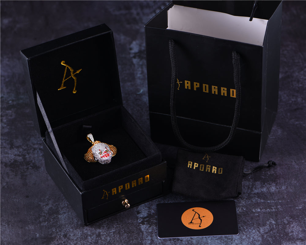 Aporro-14K Gold Iced Clown Pendant