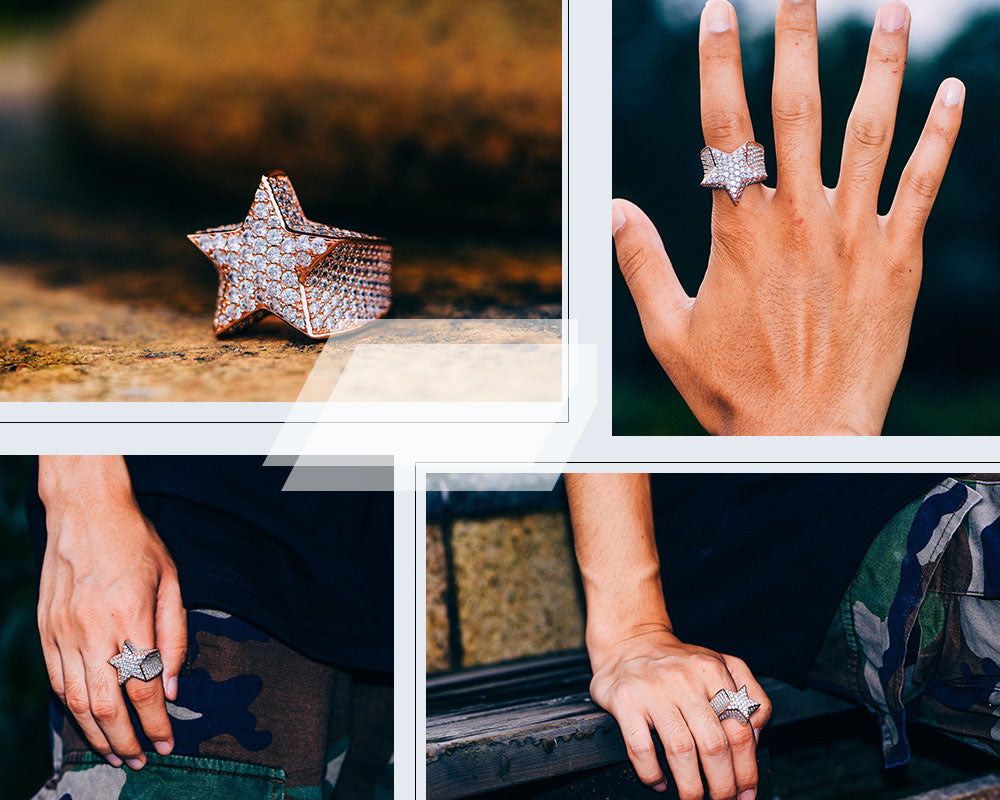Aporro-Rose Gold Iced Out Star Ring