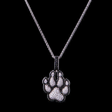 White Gold Iced Wolf Print Pendant