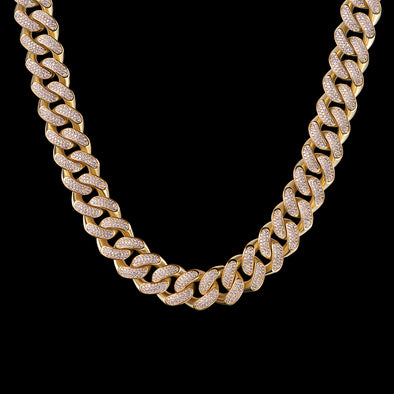 "28"" 19mm 14K Gold Iced Cuban Chain-1st version"