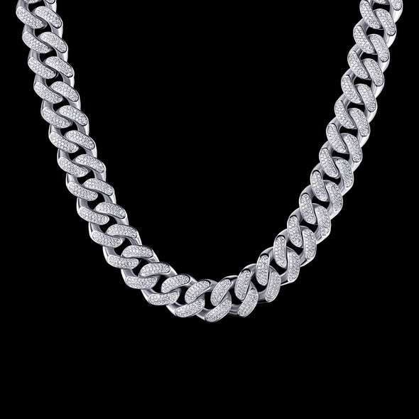 "24"" 19mm White Gold Iced Cuban Chain-1st version"