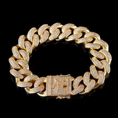 "8"" 19mm 14K Gold Iced Cuban Bracelet-1st version"