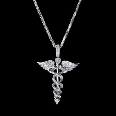 White Gold Iced Staff of Hermes Pendant (Pre-Sales)