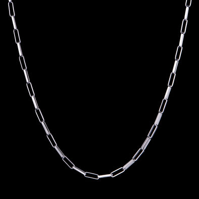 4mm White Gold Paper Clip Chain