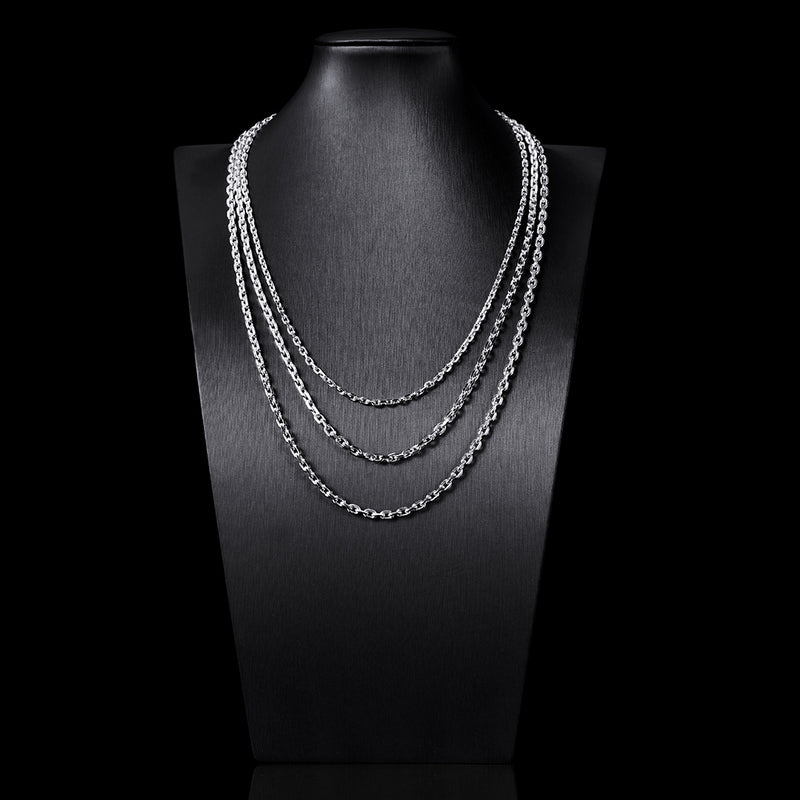 4mm Cable Chain in 925 Sterling Silver (White Gold)