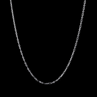 3mm Round & Oval Link Chain in Sterling Silver(White Gold)