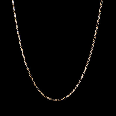 3mm Round & Oval Link Chain in Sterling Silver(Yellow Gold)