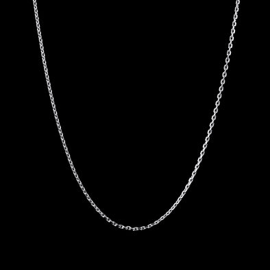 3mm Cable Chain in 925 Sterling Silver (White Gold)