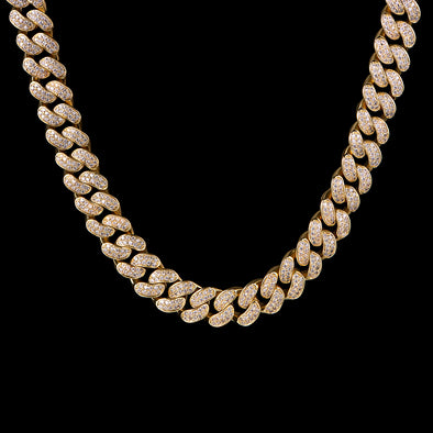"30"" 12mm 14K Gold Iced Cuban Link Chain-1st version"