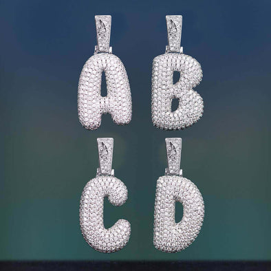 White Gold Iced Bubble Single Letter (Custom)