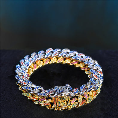 Multi-Colored Iced Cuban Link Bracelets Set