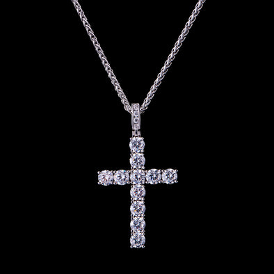 White Gold Iced Medium Tennis Cross Pendant