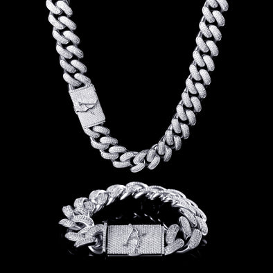 19mm White Gold Iced Cuban Chain and Bracelet Set