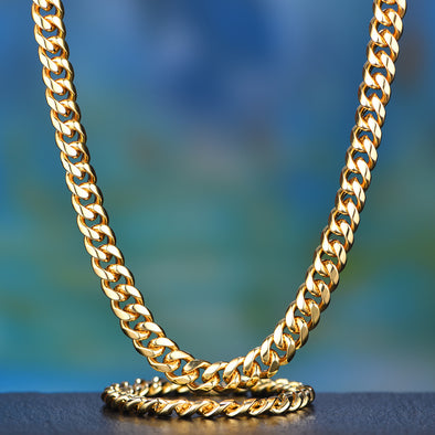 12mm 14K Gold Miami Cuban Chain and Bracelet Set
