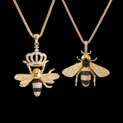14K Gold Iced Bee and Queen Bee Set