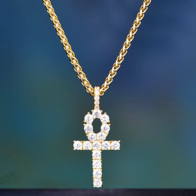 14K Gold Iced Out Ankh Pendant